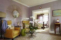 Master Bedroom. Lavender, mustard and moss. Designer: Katherine Shenaman.