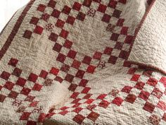 Red & Cream DOUBLE IRISH CHAIN Lap Quilt 43 by SidePorchCreations, $135.00