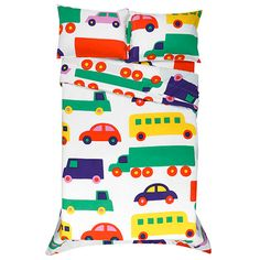 Adorned with traffic-stopping style, the Marimekko Bo Boo Percale Bedding uses cars, trucks, busses and vans to adorn this fun-filled set. Perfect for a child's bed, designer Katsuji Wakisaka loved to