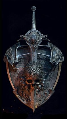 Skull Shield, Anas Asghar : my shield & sword concept design Fantasy Armor, Fantasy Weapons, Dark Fantasy, Skull Tatto, Character Art, Character Design, Totenkopf Tattoos, Muster Tattoos, Armor Tattoo