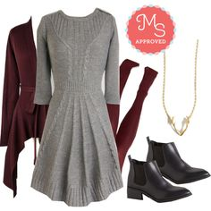 Warm Cider Dress by modcloth on Polyvore featuring мода, BC Footwear, Fall, outfit, layers and modcloth