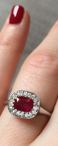 Vintage .75 Carat Edwardian Burma Ruby & Diamond Engagement Ring...you'd have to keep your nails polished at all times :)