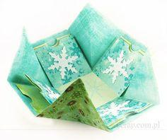 Zimowe pudełko - rozłożone Napkins, Scrapbooking, Tableware, Handmade, Winter, Winter Time, Dinnerware, Hand Made, Towels