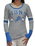 Detroit Lions NFL Womens Ribbed Long Sleeve Shirt (Vintage Look) M Grey