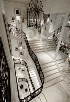 I love the marble of this staircase, the wrought iron is beautiful. I also like how there is a landing every 6 or so steps. (Staircase in Beaux Arts Ralph Lauren Flagship store on Madison in NYC) Future House, My House, Story House, Grand Staircase, Marble Staircase, White Staircase, Entry Stairs, Grand Foyer, Entry Hall