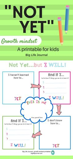 "Teach your child the power of ""not yet"" with this fun printable. Let them think about what they want to learn which they don't know YET. This is part of Big Life Journal's growth mindset printables for kids."