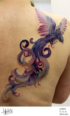 GORGEOUS Phoenix (?) tattoo. Love the colors, the shape, the look....overall, this is just a spectacular tat   ===  Anna Belozyorova - barnaul russia tattoo artist | tattrx tattoo directory tattoos, tatouages, tätowierungen, татуировки, татуювання, tatuajes, tatuagens, tetovaže, tatuaggio, tatuaggi, タトゥー, 入れ墨, 纹身, tatuaże, dövme, tetování, קעקועים ,الوشم, τατουάζ tatoo, tatau, tatuoinnit, Hình xăm, tattoo art, tattrx, tetování, tetoválás, tatuiruotės by elisa