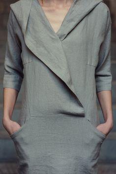 Linen Hooded Summer Dress Motumo 14S11 by MotumoLinen on Etsy