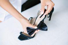 DIY minimalist strap heels with a  silk bow accessory.