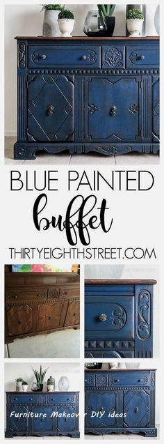 Blue Painted Buffet Makeover New Simple Diy Furniture Makeover And Transformation Homedecor Bedroom Furniture Makeover, Diy Furniture Easy, Painted Bedroom Furniture, Trendy Furniture, Blue Furniture, Diy Furniture Projects, Refurbished Furniture, Colorful Furniture, Repurposed Furniture