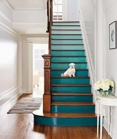 bold choice - colored risers on the stairs. goes well with white walls.