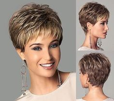 Chic style Synthetic wigs Short Straight hair Light Brown wigs with bangs Full Natural wigs Short Cropped Hair, Short Hairstyles For Thick Hair, Short Grey Hair, Haircuts For Fine Hair, Short Straight Hair, Short Hair With Layers, Short Hair Styles For Round Faces, Short Hair Cuts For Women, Crop Hair