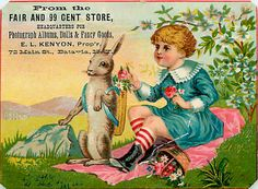 Victorian Trade Cards | Girl Rabbit 1890s Victorian Trade Card Advertising Fair & 99 Cent ...