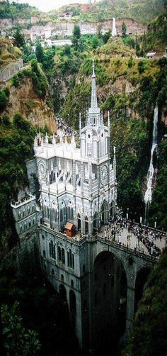 Santuario de Las Lajas (Sanctuary of the Stone Slabs), Narino, Colombia. Places Around The World, The Places Youll Go, Places To See, Around The Worlds, Hiding Places, Beautiful Castles, Beautiful Buildings, Beautiful Places, Amazing Places