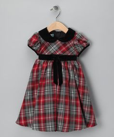 Take a look at this Red Plaid Cap-Sleeve Dress - Infant by Katie & Co. on #zulily today!