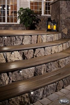 One of the hottest trends is incorporating warming features into outdoor spaces. Take part in this trend by integrating LED lights into your deck railing, stairs and yard. #outdoorliving #backyard #de (One Step Stairs) #LandscapingandOutdoorSpaces
