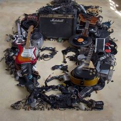 Jimi Hendrix portrait made out of music equipment - Imgur