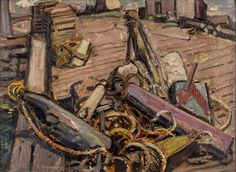Arthur Lismer - Ropes and Gear Neil's Harbour Cape Breton Island N. 12 x 16 Oil on canvas board Canadian Painters, Canadian Art, Franklin Carmichael, Dazzle Camouflage, Tom Thomson, Emily Carr, Group Of Seven, Cape Breton, Canvas Board