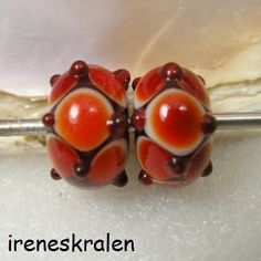 Lampwork Glass Beads Handmade GlassBeads Red with by IrenesBeads, €5.00