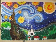 """Bottle Cap Starry Night"" - Earth Day Art Project Ottawa Hills Elementary  Cindy Bodziak - Art Instructor"