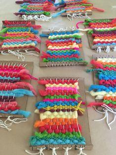Rainbow Weavings with Koolaid Dyed Yarn 2019 Kids dye their own chunky wool yarn with Koolaid then make small weaving on cardboard looms. The post Rainbow Weavings with Koolaid Dyed Yarn 2019 appeared first on Yarn ideas. Weaving For Kids, Weaving Art, Hand Weaving, Art For Kids, Crafts For Kids, Arts And Crafts, Yarn Crafts Kids, Crafts With Yarn, Fabric Art