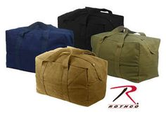 """""""Rothco Canvas Parachute Cargo Bag""""  Rothco's Heavyweight Canvas Cargo Bag features reinforced web handles, snap flap covered full length zipper and measures 24"""" X 15"""" X 13"""". The cargo bag's large size make it ideal for long trips. Rothco's Canvas Cargo Bag is available in 6 different colors."""