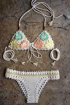 Pretty Pastels! Pastel Flower Pattern Halter Crochet Bikini Set #Floral #Pastel #Lace #Crochet #Bikini #Fashion