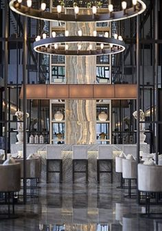 No idea what the characters below say, but i like this bar/lounge area. Bar Interior Design, Restaurant Interior Design, Cafe Design, Lounge Design, Restaurant Hotel, Restaurant Lighting, Restaurant Ideas, Bar Lighting, Lighting Design
