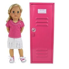 """18 Inch Doll Clothes Locker for American Girl Doll Bed Rooms & More! 18"""" Doll Furniture of Pink Metal Doll Locker"""