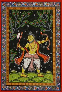 Parashurama Avatar - Sixth Incarnation of Lord Vishnu (Orissa Pattachitra Painting on Patti - Unframed)