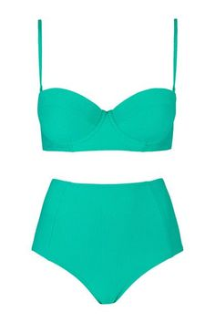 Affordable and cute swimwear for summer— Topshop textured high waist bikini