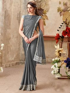 44827b9aed1 Grey Color Designer Women s Party Wear Border Saree with Emb. Blouse.  Designer Sarees Online ShoppingLatest ...