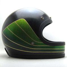 vintage green metal flake full face helmet