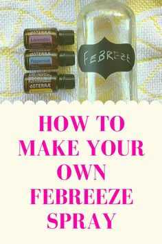 """Make your own """"Febreeze"""" at home with only 3 ingredients! It's all natural, non-toxic and is a fraction of the price of regular Febreeze! Essential Oil Spray, Essential Oils Guide, Essential Oil Diffuser Blends, Febreze Spray, Cleaning Spray, Cleaning Hacks, Cleaners Homemade, Diy Cleaners, Oil Uses"""