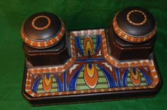 Signed Vintage Gouda Holland Pottery Double Inkwell Stand
