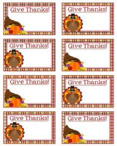 Thanksgiving Place Cards Set of 8  Give by Pinkowlpartydesign
