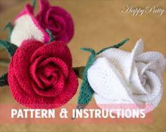 Crochet Rose Pattern - Half Open Rose (Bowl Shape) - Crochet Flower Pattern - Bouquet & Wedding Decor - Instant Download