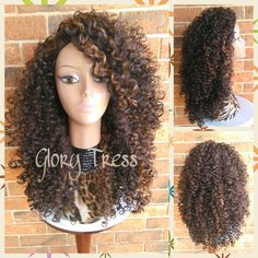 On Big Kinky Curly Half Wig Ombre Wig Beach Curly Afro Wig African... ($59) ❤ liked on Polyvore featuring beauty products, haircare, hair styling tools, hair, bath & beauty, black, hair care, wigs and curly hair care
