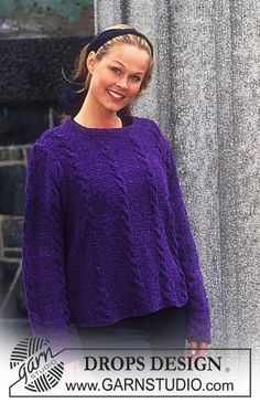 DROPS Sweater in COTTON CHENILLE with cables. ~ DROPS Design