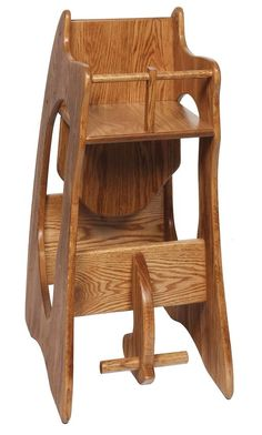 Amish Hardwood Three-in-One Highchair Rocker and Desk