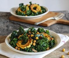 Roasted Delicata Squash and Chickpea Kale Salad with Miso-Harissa Dressing - Dishing Up the Dirt