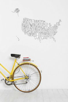 USA Map Wall Decal #urbanoutfitters