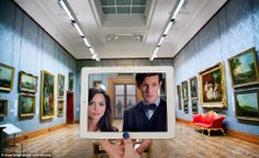 The two young women who live in Cardiff painstakingly recreate their favorite scenes using an iPad or phone screens to stand in for the stars. Here, #DoctorWho in Cardiff's National Museum.
