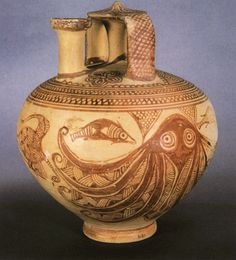 A Mycenean jar from Athens, decorated with a dolphin and an octopus. 12 century BCE.
