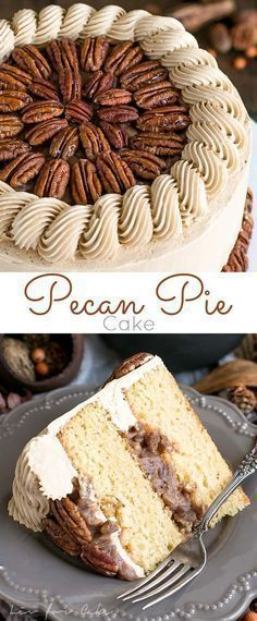 Pecan Pie Cake is perfect for the holidays. Brown sugar cake layers and buttercream filled with traditional pecan pie filling Cupcake Recipes, Baking Recipes, Cupcake Cakes, Dessert Recipes, Bundt Cakes, Game Recipes, Layer Cakes, Dessert Ideas, Pecan Pie Cake