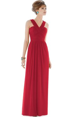 V-neck Sleeveless Chiffon Floor-length Natural Bridesmaid Dresses