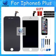 Mejor grado de calidad aaa para el iphone 6 plus pantalla lcd táctil digitalizador pantalla de vidrio de alta copia negro blanco envío gratis