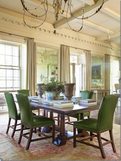 Beautiful library table with English green leather chairs - Ginger Barber