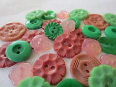 Vintage Buttons  Cottage chic flower mix of pinks by pillowtalkswf, $8.25