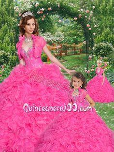 Popular Beading and Ruffles Sweetheart Hot Pink Princesita Dress